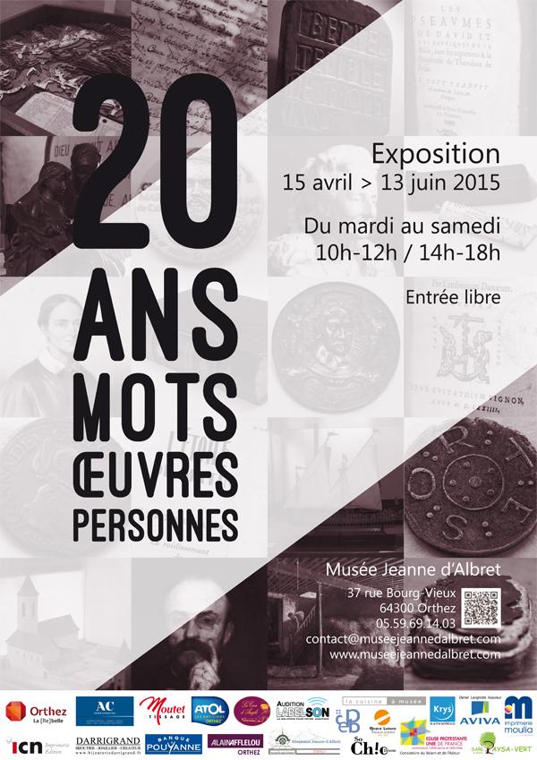 """Affiche de l'exposition """"20 ans, 20 mots, 20 œuvres, 20 personnes"""""""